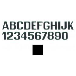 mustat kirjaimet E ja numerot mm.150